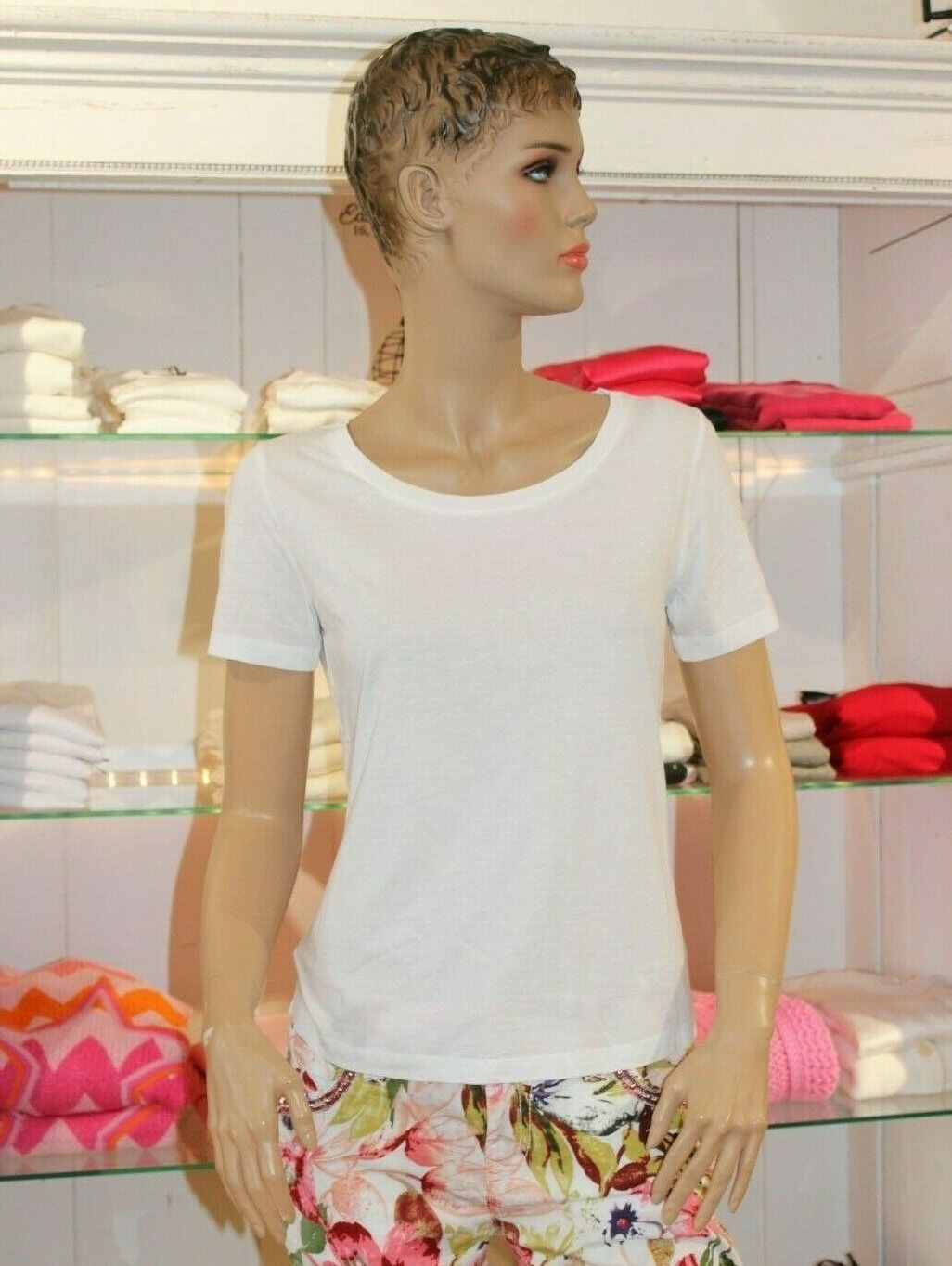 GRACE NEU Gr.S Basic-T-Hemd Weiß Ärmelaufdruck Basics
