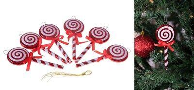 "Christmas Lollipop Ornament Set 5"" Candy Cane Design Tree Ornaments Decor 6 Pa"
