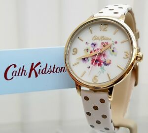 New-CATH-KIDSTON-White-Watch-Mallory-Bunch-Gold-Polka-Dots-Watch-RRP-79-c7
