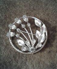 Vintage KREMENTZ SIGNED BROOCH PIN Silver Tone Clear Gemstones Ladies Jewelry