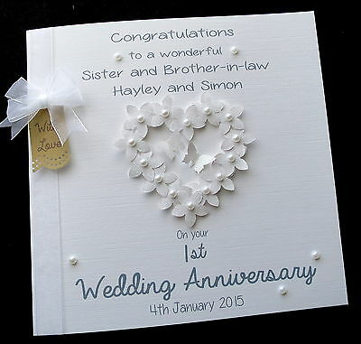 LARGE Personalised Wedding Card Engagement Anniversary Congrats /'FlowerHeart/'