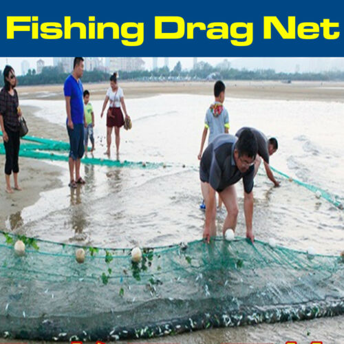 Bait Seine Fishing Drag Net Fish Minnows Cast Beach Mesh 2M X10M 6.5X3