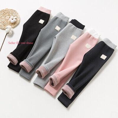 Kids Girl Stretch Thermal Cotton Leggings Fleece Lined Pant Winter Skirt Trouser