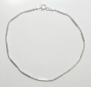 Three Bead/one Bar 8 inch Bracelet 925 Sterling Silver  3+1 design Italy