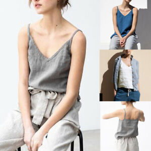 Women-Summer-V-Neck-Strappy-Casual-Cotton-Linen-Loose-Tops-Vest-Blouse-Tank-Tops