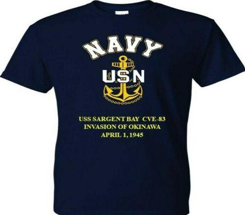USS RUDYERD BAY CVE-81 OKINAWA 1945 VINYL /& SILKSCREEN NAVY ANCHOR SHIRT//SWEAT