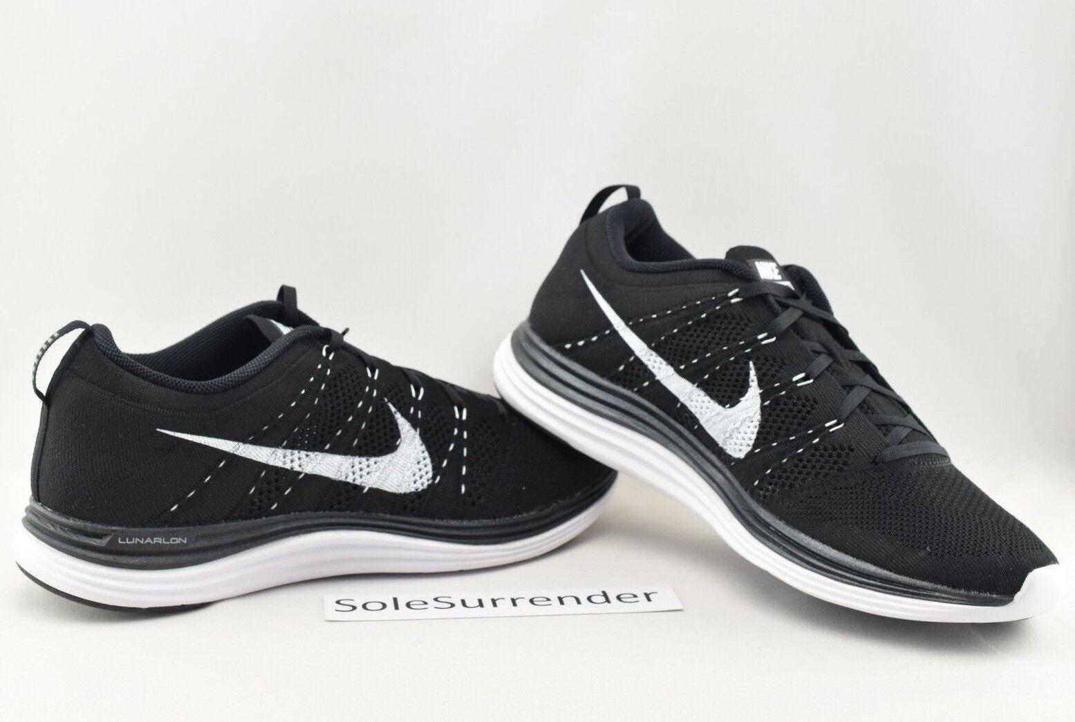 Nike Flyknit Lunar1+ - SIZE 11.5 - 554887-011 White Lunar 1 Black Retro OG Low