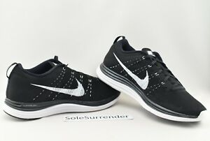 reputable site facde dba86 Details about Nike Flyknit Lunar1+ - SIZE 11.5 - 554887-011 White Lunar 1  Black Retro OG Low