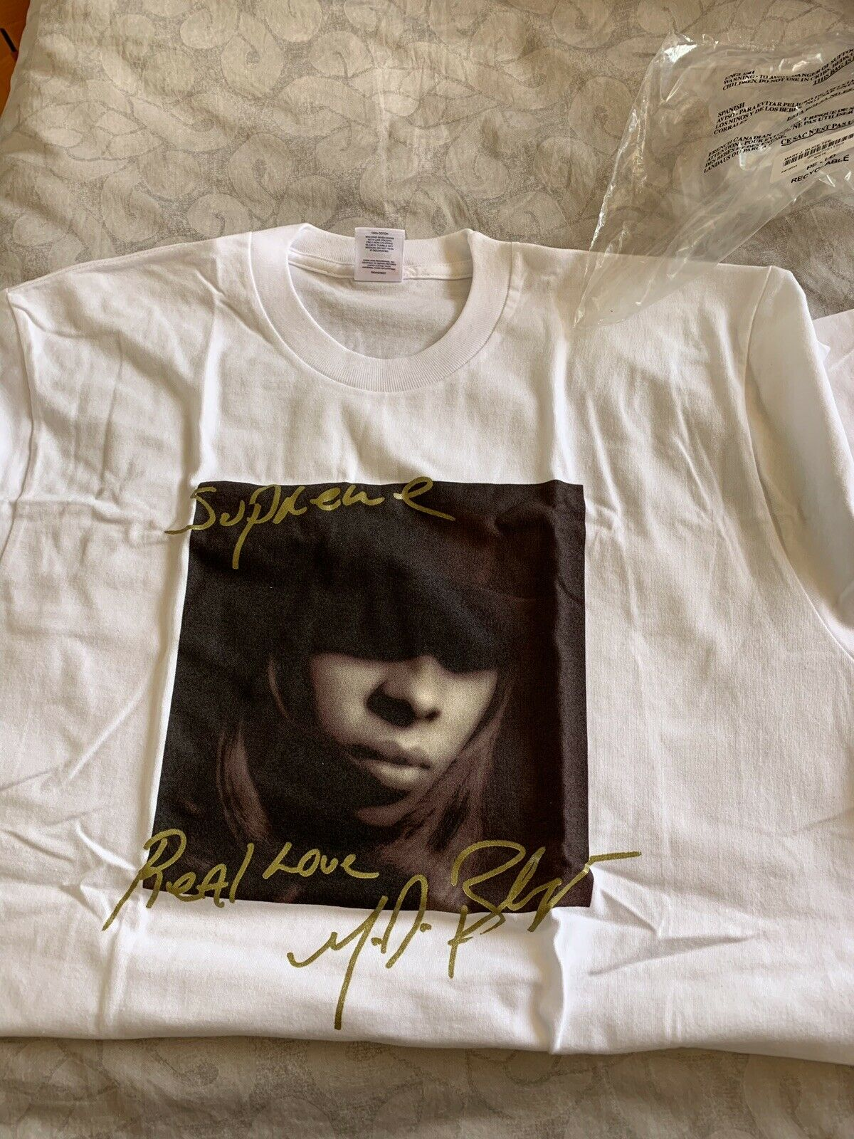 Supreme FW19 Mary J. Blige Tee Weiß groß In Hand SOLD OUT BOX LOGO