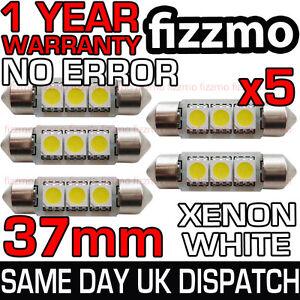 5x 37mm 239 272 SV8.5 6000k BRIGHT WHITE 3 SMD LED FESTOON LIGHT BULB ERROR FREE