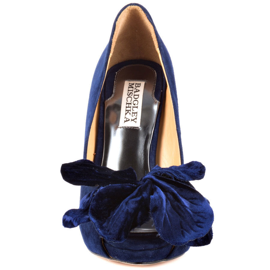 Badgley Mischka Mischka Mischka Maribelle Navy suede evening open toe pump schuhe w flower 6,5 a01362