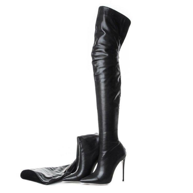 Real Leather Women Pointed Toe Thigh High Over the Knee Boots Stiletto shoes Sz