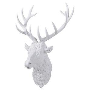 White Stag Deer Reindeer Head Antlers
