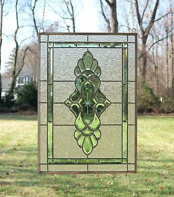 """Stained glass green transparent Clear Beveled window panel 19/"""" x 27/"""""""
