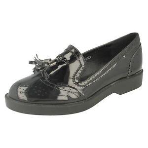 Spot On F8r0120 Femmes Noires Vernies Richelieu à/pampilles Enfiler Chaussures (r11b)-afficher Le Titre D'origine