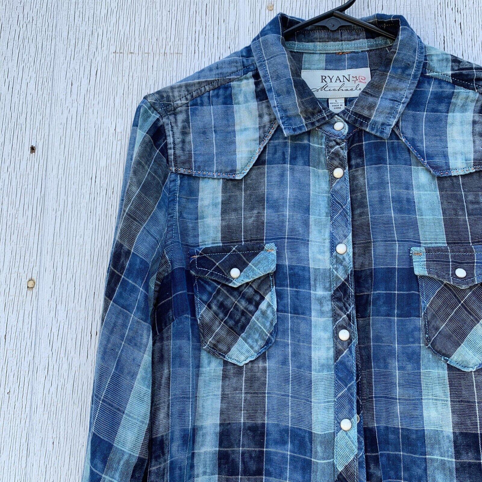 damen Ryan Micheals Western Blau Like Travis Lake Pearl Snap Plaid Dress L