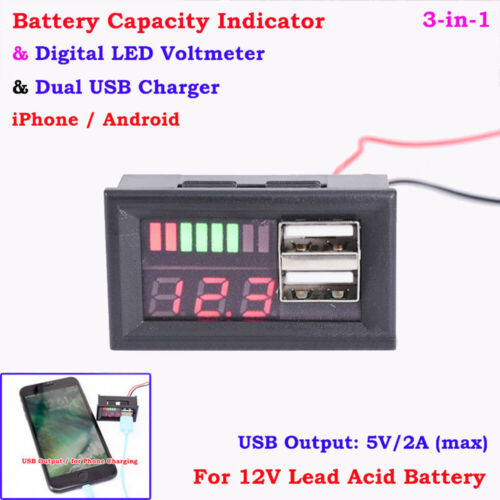 12V Bleiakku Kapazität Indikator Spannung Panel Meter USB Ladegerät Auto Neu
