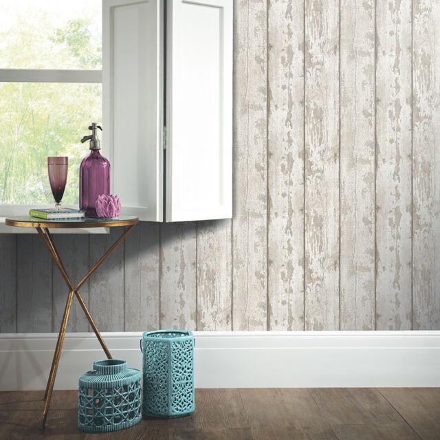 White Washed Wood Wallpaper Arthouse 694700 Panels Cladding Ebay