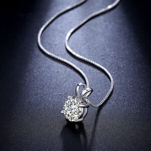 Fashion-Charm-Crystal-Pendant-Silver-Stainless-Steel-Chain-Necklace-Chic-Jewelry