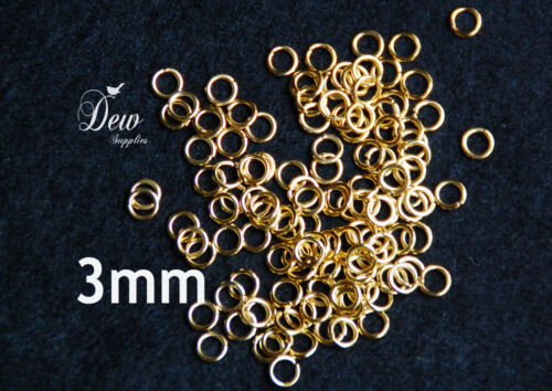 100x 3mm Gold Jump Rings