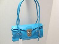 Sky Blue Leatherette Doctor Bag Purse,