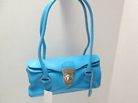 Sky Blue Leatherette Doctor Bag Purse,