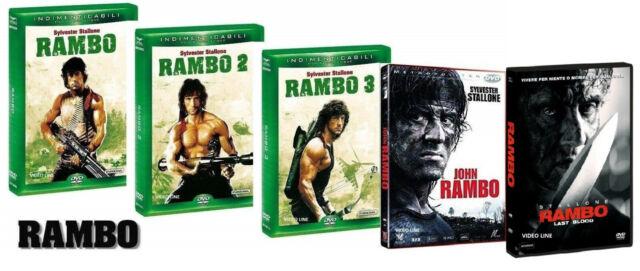 Dvd RAMBO La Trilogia 1-2-3 + Rambo: Last Blood + John Rambo (5 Film DVD) .NUOVO