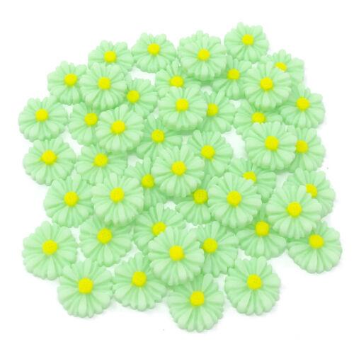 45x Daisy 13mm Shabby Chic Daisy Flatbacks Craft Embellishments 10 Colours