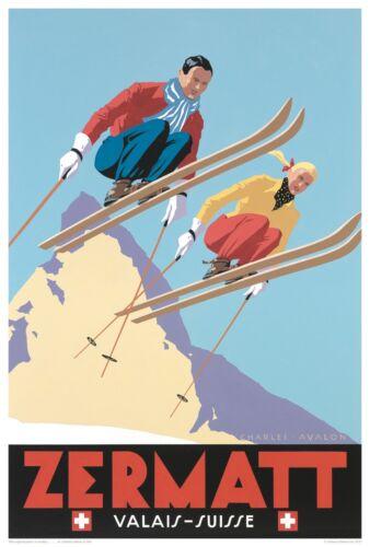 Print on Paper /& Canvas Giclee Poster Zermatt-Valais Suisse-Winter Ski