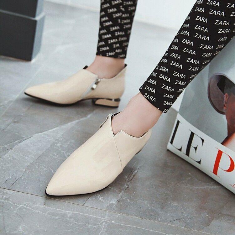 Printemps Nouveau Femmes Cuir Verni Derbies Bout Pointu Décontracté Bureau Chaussures Taille UK