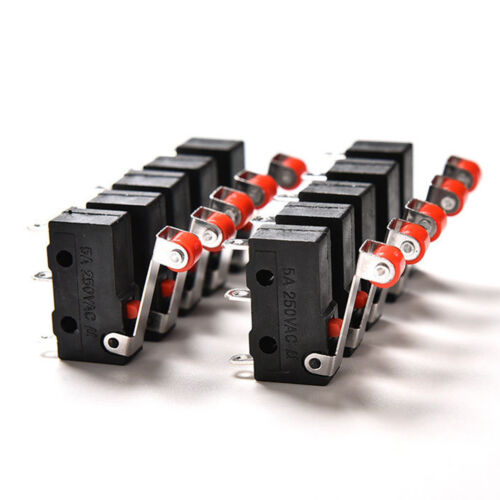 10Pcs Micro Roller Lever Arm Open Close Limit Switch KW12-3 PCB Microswitch/_cc