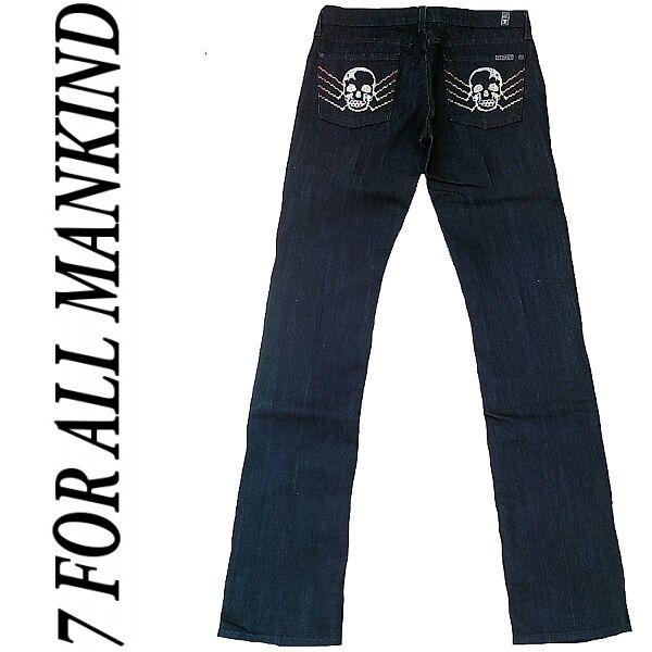 7 SEVEN FOR ALL MANKIND Style  U190L359S Skull Straight Leg Jeans 27 34 W27 L34