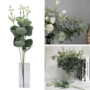 Kuenstliche-gefaelschte-Seidenblume-Eukalyptus-Pflanze-gruene-Blaetter-Home-Decor