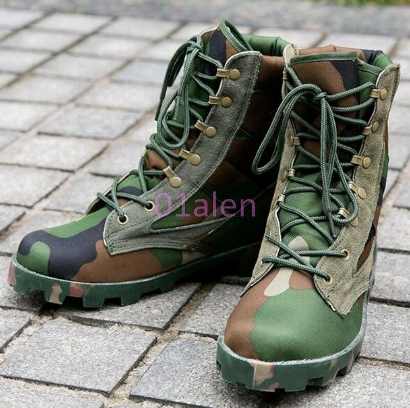Spring Mens Combat Desert Ankle Boots Hiking Lace Up Camouflage Military shoes