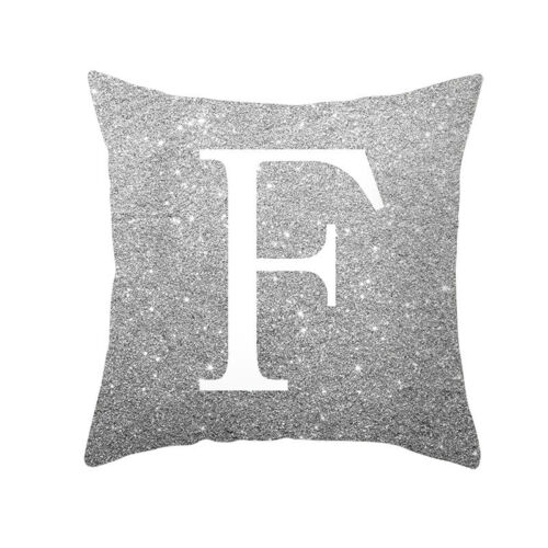 Throw Pillow Cover Case Silver Sofa A-Z Letters Square Back Cushion Cover