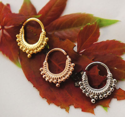 18G 1mm Bead Ornate Indian Tribal Crescent Septum Ring Captive Bar Nose Jewelry