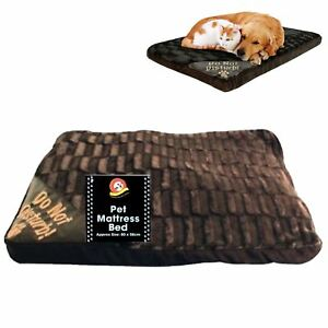 BROWN LARGE LUXURY FUR DOG CAT PET BED MATTRESS WASHABLE PILLOW CUSHION SOFT BED