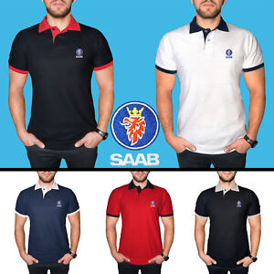 SAAB-Polo-T-Shirt-COTTON-EMBROIDERED-Auto-Car-Logo-Tee-Mens-Clothing-Friend-Gift