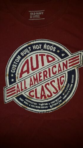 Old Navy All American Classic Hot Rod Logo Red T S