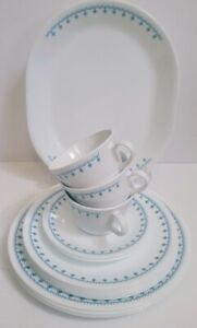 Lot of 16 Snowflake Blue Corelle Corning Plates Cups Saucers