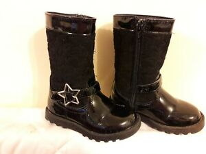 Girls Primark Black Boots Patent