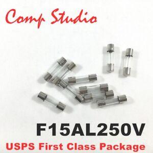 Compstudio 10pcs//lot 6X30mm F15AL250V Fuses 15A 250V  Fast-Blow Fuse Glass Tube
