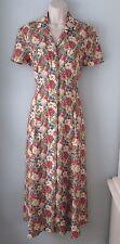 Vintage Maggy London Floral Print Long 100% Rayon Button Down Dress Women 8 M