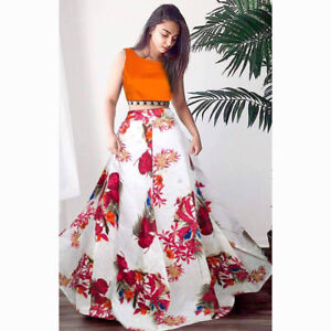 2fcf07508 Image is loading Digital-Flower-Floral-Print-Lehenga-Choli-Skirt-Crop-