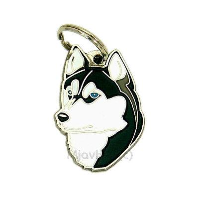 Engraved pet id tag MjavHov, Siberian Husky black