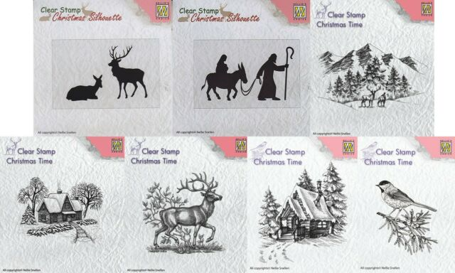 Conifer Branch with Bird CT023 Nellie Snellen Christmas Time Stamps
