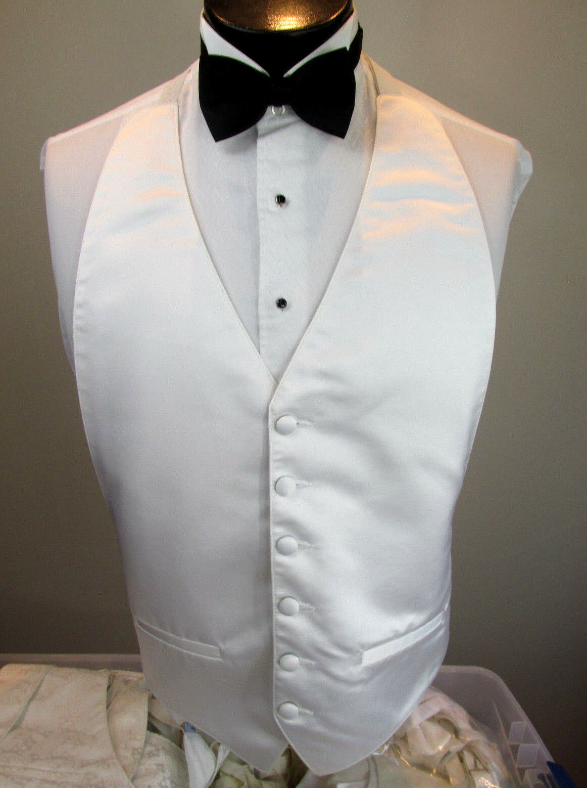 Mens Formal Vest White Bow Tie Included OSFA B7