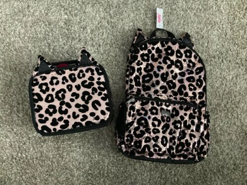 Justice Girls Cheetah Sequin Backpack With Matching Lunch Tote