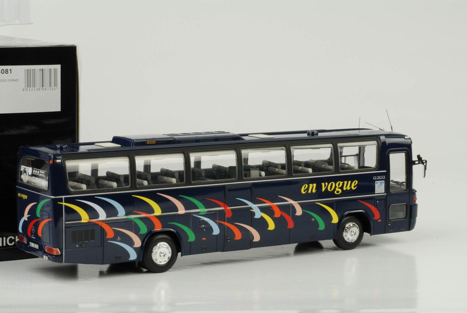 Mercedes-Benz Bus Autocar o303-15 RHD 1979 En Vogue Bleu 1 43 Minichamps