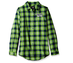 Forever Collectibles NFL Women/'s Seattle Seahawks Check Flannel Shirt